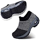 STQ Women Comfort Walking Shoes Casual Tennis Lightweight Sneakers Wedges Air Cushion Slip On Fitness Shoes Workout Outdoor Travel Shoes Grey 7