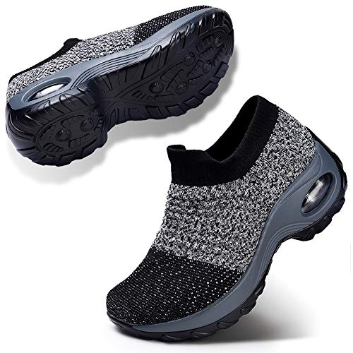 STQ Women Comfort Walking Shoes Casual Tennis Lightweight Sneakers Wedges Air Cushion Slip On Fitness Shoes Workout Outdoor Travel Shoes Grey 5.5
