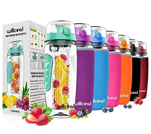 willceal Fruit Infuser Water Bottle 32oz Durable, Large - BPA Free Tritan, Flip Lid, Leak Proof Design - Sports, Camping (Mint)