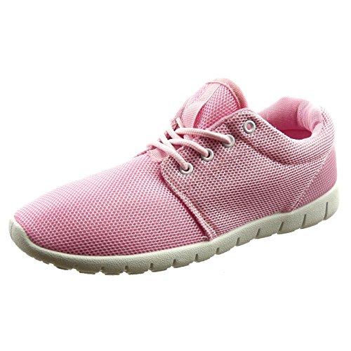 Sopily - Scarpe da Moda Sneaker alla caviglia donna Tacco a blocco 2.5 CM - Rosa