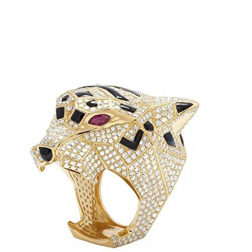 Panther Pear Ruby Emerald Black Enemal White Diamond 14k Yellow Gold Men Women Animal Anniversary, Engagement, Wedding, Bridal (Ruby Panther Ring)