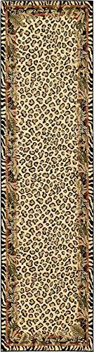 Unique Loom Wildlife Collection Cheetah Botanical Border Animal Print Cream Runner Rug (2' 7 x 10' 0) (Runners Rug Print Animal)