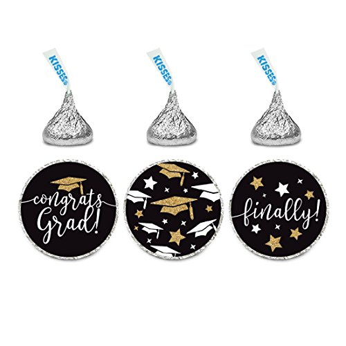 Andaz Press Black and Gold Glittering Graduation Party Collection, Chocolate Drop Label Stickers Trio