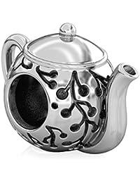 Authentic BELLA FASCINI Cherry Blossom Teapot Bead Charm - 925 Silver - Fits European Bracelets Bangles