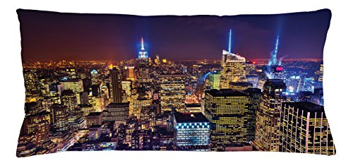 Ambesonne New York Throw Pillow Cushion Cover, Aerial Cityscape Landmark Fourth of July Independence Penthouse Modern Art Image, Decorative Square Accent Pillow Case, 36 X 16 Inches, Purple Gold (Penthouse Accent)