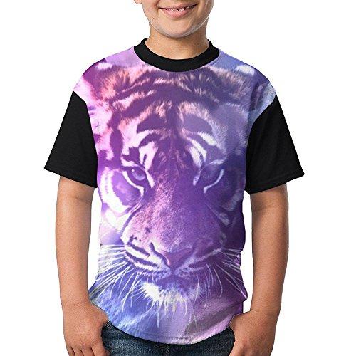WANING MOON Beautiful Purple Sunset White Tiger Boy's Raglan T-Shirt Baseball with Short Sleeves (Raglan Tigers Youth Purple)