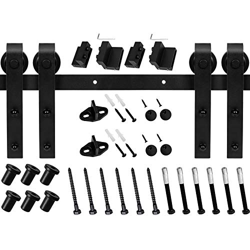EaseLife 8 Ft Double Sliding Barn Door Hardware Track Kit,Carbon Steel,Black Powder Coating (8 Foot Double Door Kit) by EaseLife