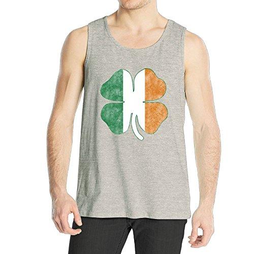 Tina TN Men's Boy's Tank Top Summer Beach Sleeveless T Shirt Irish Flag Four Clover Vest
