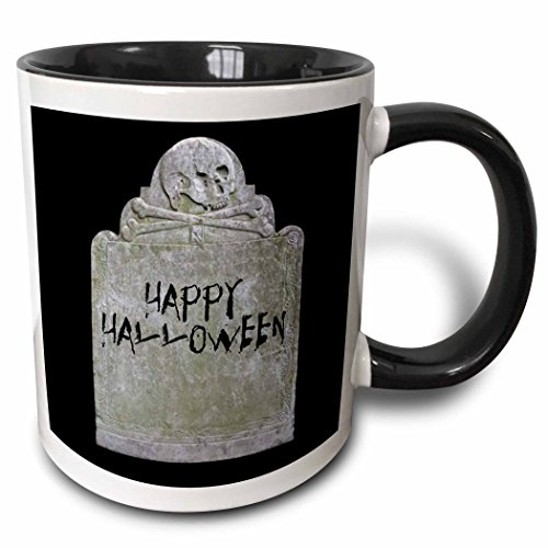 3dRose Xander holiday quotes - Happy Halloween picture of tombstone with black lettering on it - 15oz Two-Tone Black Mug (mug_201933_9) ()