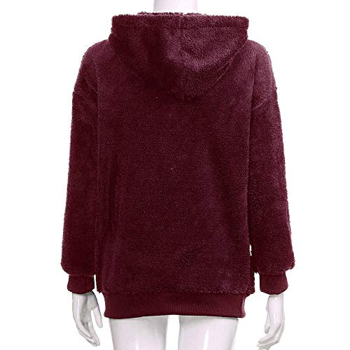 DEELIN Warm Hoodie Autumn Tops Hooded Long Wine Ladies Sleeve Pullover Coat Solid Sale Fluffy Women Sweatshirt Red Clearance Warm Jumper Winter r7WwIaBxr