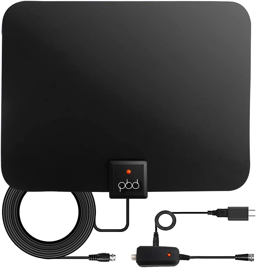 PBD Digital Amplified Indoor HD TV Antenna - Amplifier Signal Booster & 13ft Coax Cable - Support 4K 1080p VHF UHF Freeview Television Local Channels