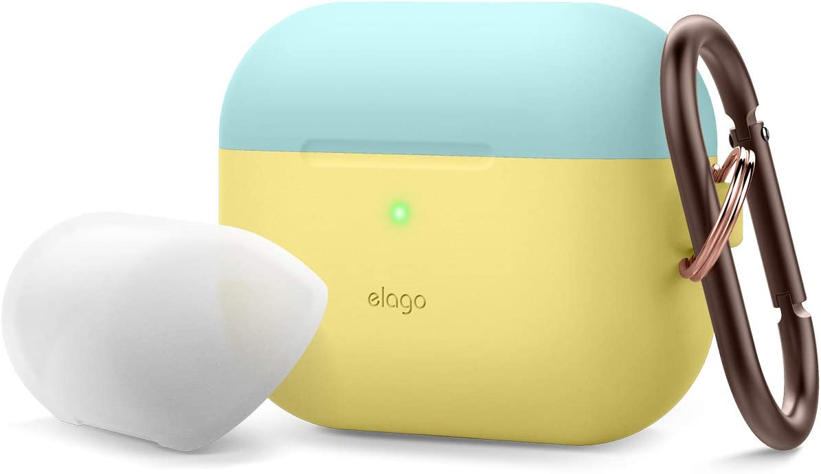 elago Duo AirPods Pro Case with Keychain Designed for Apple AirPods Pro Case Cover, 2 Caps + 1 Body (Front LED Visible) [ Coral Blue, Nightglow Blue + Yellow ]