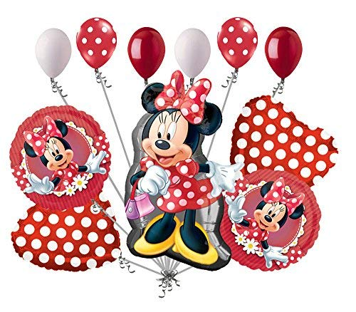 11pc Minnie Mouse Happy Birthday Balloon Bouquet Party Decoration Cartoon Disney -