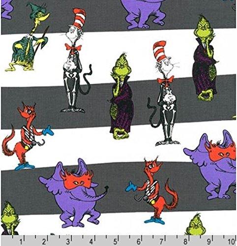 Kaufman 'Spooktacular Seuss' Stripes on Halloween Cotton Fabric -