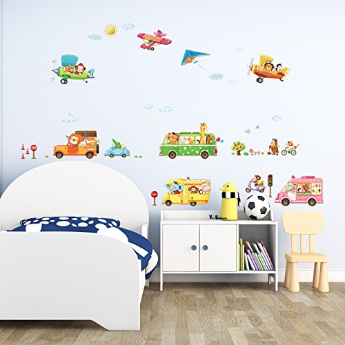Transport Plane (Decowall DAT-1806P1506B Animal Transports and Biplanes Kids Wall Stickers Wall Decals Peel and Stick Removable Wall Stickers for Kids Nursery Bedroom Living Room)