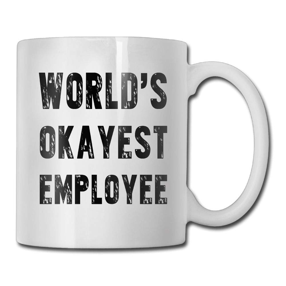 Funny Coffee Mug Tea Cup Inspirational Quote Men Women - World's Okayest Employee - Gifts Employee Birthday, Co-Worker Office Work Gifts, White Fine Bone Ceramic 11 OZ Waldeal