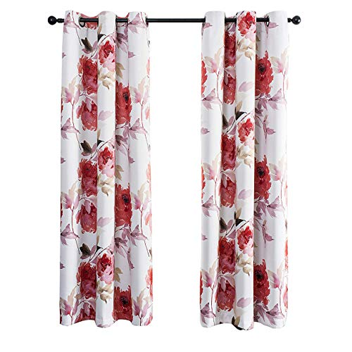 MYSKY HOME Printed Floral Curtains for Living Room, Room Darkening Grommet Curtain Panels 42 inch Wide by 63 inch Length (Red, 1 Pair)