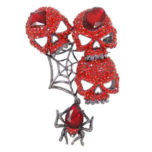 EVER FAITH Austrian Crystals Halloween Vintage Style Spider Web Skull Brooch Pendant Red Black-Tone