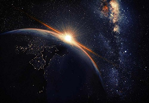 Earth with Lights from Outer Space Wall Mural