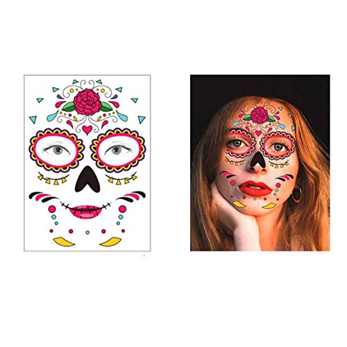 COKOHAPPY Temporary Face Tattoos Halloween Makeup Kit (15 Pack), Day of the Dead Sugar Skull Floral Black Skeleton Web Red Roses Full Face Mask Stickers Tattoo Families Party Supplies