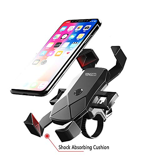 KINGCCI Bike Phone Mount,360 Degrees Rotatable Holder Cradle for Motorcycle/Bike Handlebars,Fits Universal iOS Android Smartphones, GPS, etc from 4.7″ to 7″