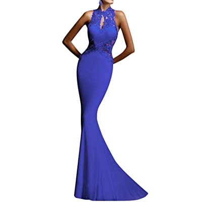 GlorySunshine Women's Sheath Sexy Lace Backless Mermaid Bridal Flare Dress at Women's Clothing store