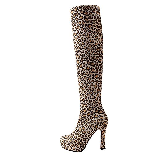 Shoes Heel Mee Print On High Knee Women's Boots Slip Leopard Chic 4nSHwxqSd