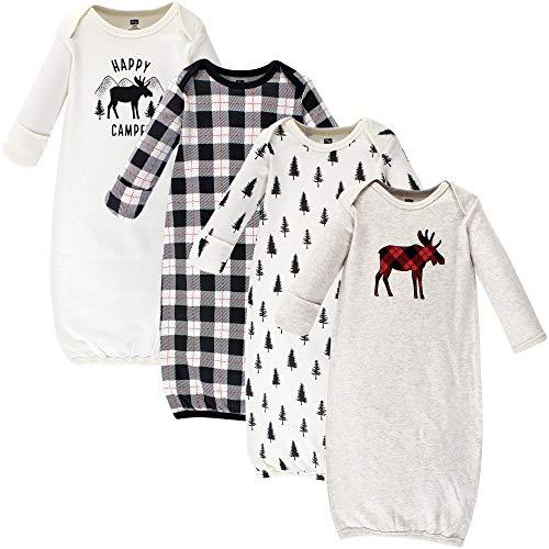 Hudson Baby Kid's Cotton Gowns Sleepwear, Moose 4 Pack, 0-6 Months (6M)