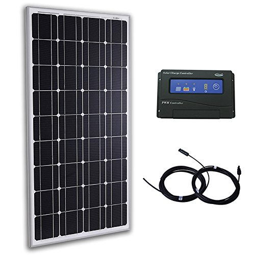 Komaes 100 Watts 12 Volts Monocrystalline Solar Bundle Kit with 20A PWM Charge Controller + 20ft MC4 Connectors by KOMAES