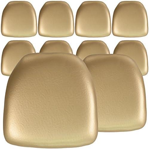 Flash Furniture 10 Pk. Hard Gold Vinyl Chiavari Chair Cushion