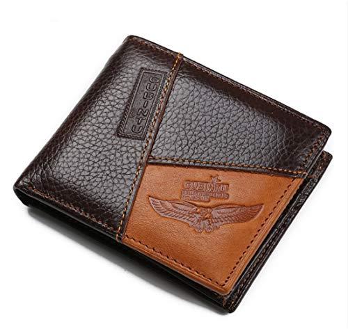 Mini cartera para hombre bolsillo frontal ID ventana banco portafolios delgado piel divisor dinero clip, Marrón, Small