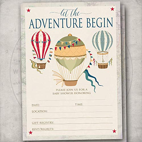 Hot Air Balloon Baby Shower Fill-In Invitations - Vintage Travel Adventure Theme Shower Invites - Set of 20-5x7 Flat Invites w/Envelopes ()