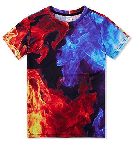 TUONROAD Cool Boys Colorful Burning Smoggy T-Shirt Comfortable Tees Red and Blue Birthday Gift Shirt for Causal Daily Wear(Ice-fire,Small)