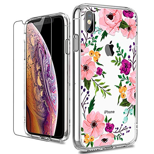 iPhone X Case, LUHOURI Clear iPhone X/Xs Case with Glass Screen Protector, Girls Women Floral Heavy Duty Protective Hard PC Back Case with Ultra-Thin Shockproof Slim TPU Bumper 10 Case 5.8-inch (Best Apple X Case)
