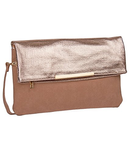 Evening Women Shoulder 463 Bag of SIX Metallic Faux pc 1 with Suede Details Clutch Grab 250 Bag Clutch Purse xPS1vwqSf