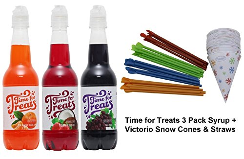 (Time for Treats 3-Pack of Orange Cream, Tiger's Blood and Grape Snow Cone Syrup + 25-Pack of Snow Cone Cups & Spoon)