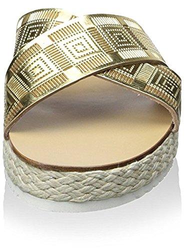 Chaniotakis Mujeres Cross Strap Platform Sandal Gold