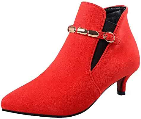 129c66d96ab Feitengtd Hot Shoes Women Suede Pointed Toe Shoes Buckle-Strap High Heels  Chain Ankle Boots