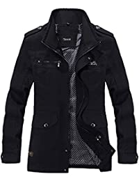 Men's Cotton Military Jacket Casual Stand Collar Front Zip Coat
