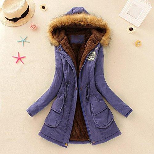 Chaud Faux Outwear Parka Femmes Manteau Fourrure Hiver Tonsee Violet Mince À Collar Long Capuche Veste O5Ifwwxq