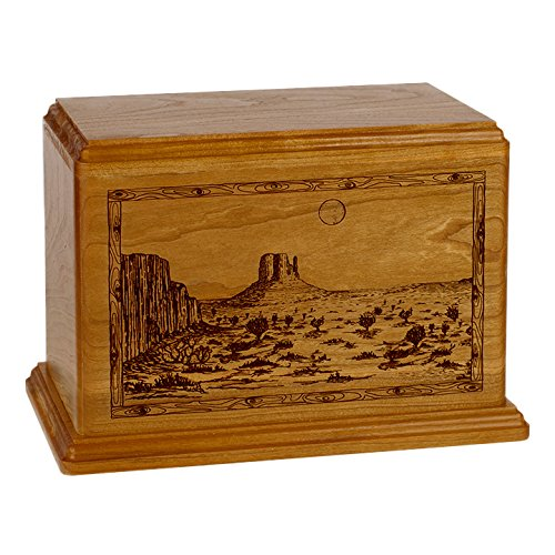 Wood Cremation Urn - Maple Trout Stream Fishing