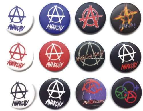 ANARCHY Symbol (2) Awesome Quality Lot 12 New Pins Pinback Buttons Badge - Wristband Anarchy