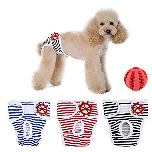 SHUIBIAN Artikel für Hunde Schutzhose Hygieneunterhose 3-er Packung+Freie Hundezähne die Kugel säubern waschbar…