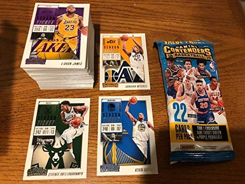 2018-19 Panini NBA Contenders Complete Hand Collated Base Set of Basketball Cards 100 Cards NO ROOKIES With a FAT PACK WRAPPER AND FREE SHIPPING IN THE USA.. Includes Giannis Antetokounmpo, Stephen Curry, Kevin Durant, LeBron James in Los Angeles Lakers uniform, Anthony Davis, Ben Simmons, Kyrie Irving, Chris Paul, Joel Embiid, Russell Westbrook, Dirk Nowitzki, Kawhi Leonard, James Harden, Lonzo Ball, Draymond Green, Victor Oladipo, Donovan Mitchell, Devin Booker and Many More from Contenders 2018-19 Panini Contenders