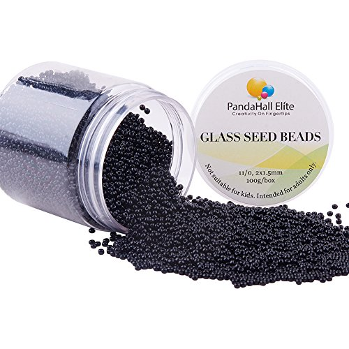 PandaHall Elite About 6000 Pcs 11/0 Glass Seed Beads Lined Pony Bead Tiny Spacer Beads Diameter 2mm for Jewelry Making Black (Bugle Grams 100 Beading Beads)