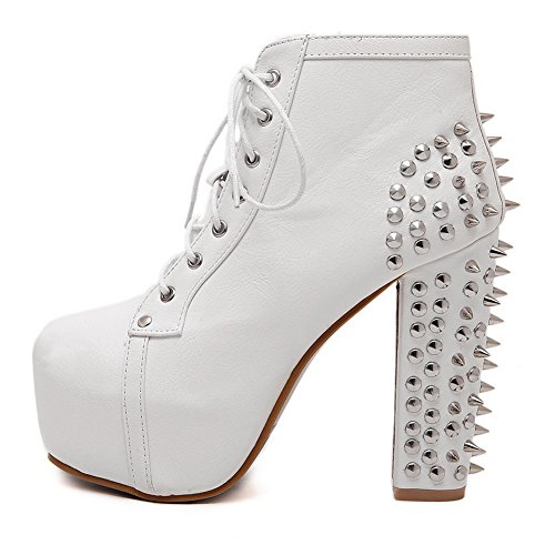 AdeeSu Toe White Ankle Round Boots Urethane Retro High Womens 6rqtcvw6