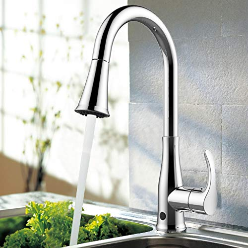 atalawa Wave Sensor Faucet Touchless Kitchen Sink Faucets Motion with Dual Mode Pull Down Sprayer, Single Handle, One Hole and 3 Hole Deck Mount, Easy to Install, Chrome