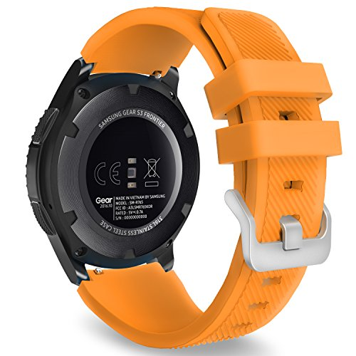 MoKo Band Compatible with Samsung Gear S3 Frontier/Classic/Galaxy Watch 46mm/Huawei Watch GT 46mm/Watch GT 2 46mm/Ticwatch pro/S2/E2, Silicone Sport Strap Fit 22mm Band, Orange