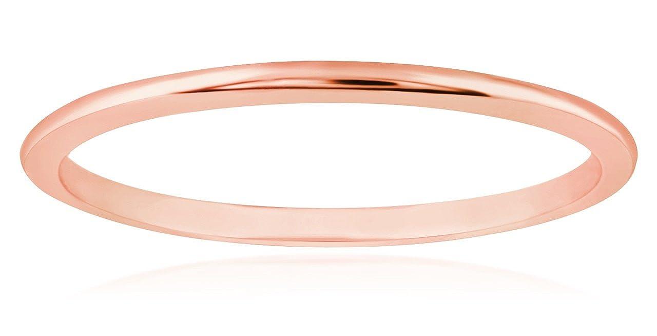 Rose Gold Wedding Band.1 Mm Thin 14k Rose Gold Wedding Band Ring Amazon Ca Jewelry