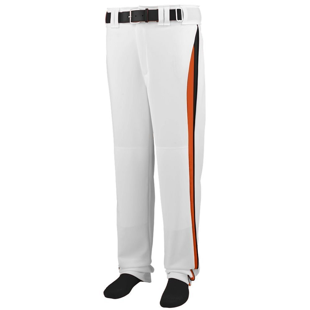Augusta Sportswear 1475 Adult's Line Drive Baseball Pant - White/orange/black 1475A XL